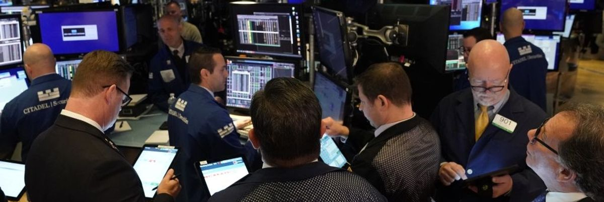 Traders on the floor of the New York Stock Exchange on March 10, 2020