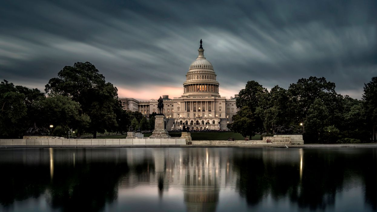 Long exposure picture of the Capitol building