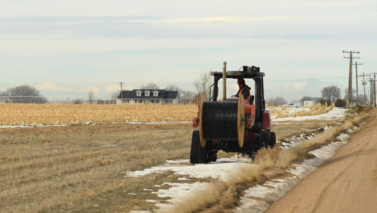 Digging a line to lay fiber optic cable in Wiggins, Colorado