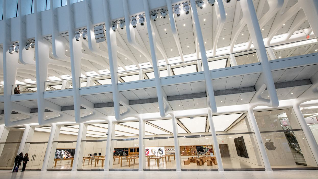 View of a closed Apple store in the Oculus shopping center in New York