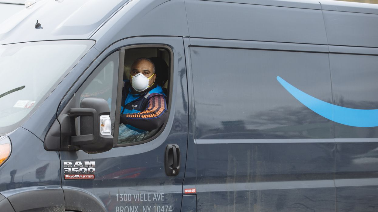 Amazon delivery driver wearing a protective mask