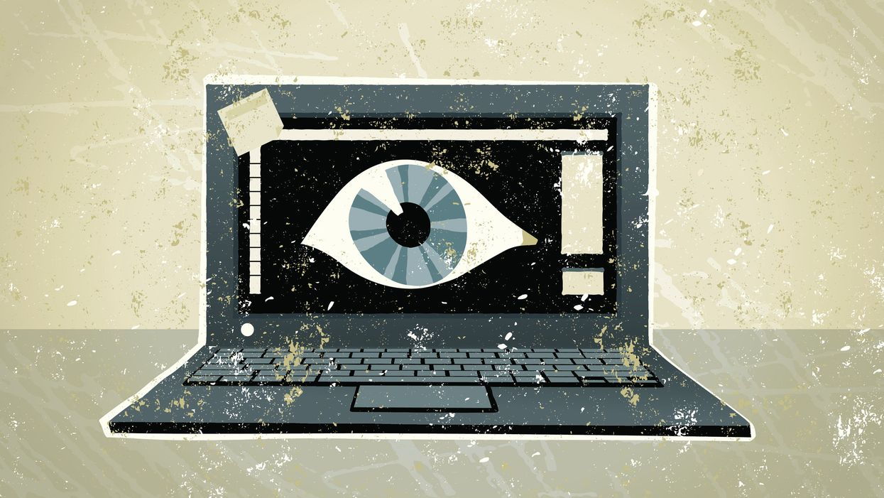 Illustration of an eyeball inside a computers screen