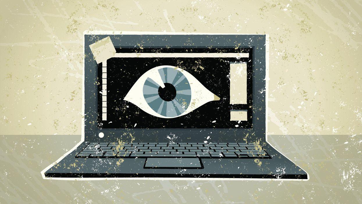 Illustration of an eyeball inside a computers screen
