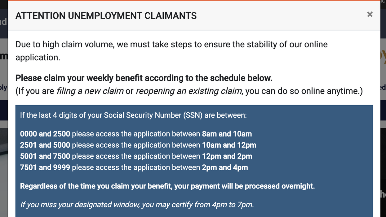 Screenshot of the New Jersey Department of Labor & Workforce Development website