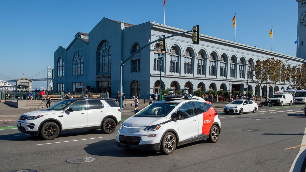 A Cruise self-driving car pictured on San Francisco's Embarcadero