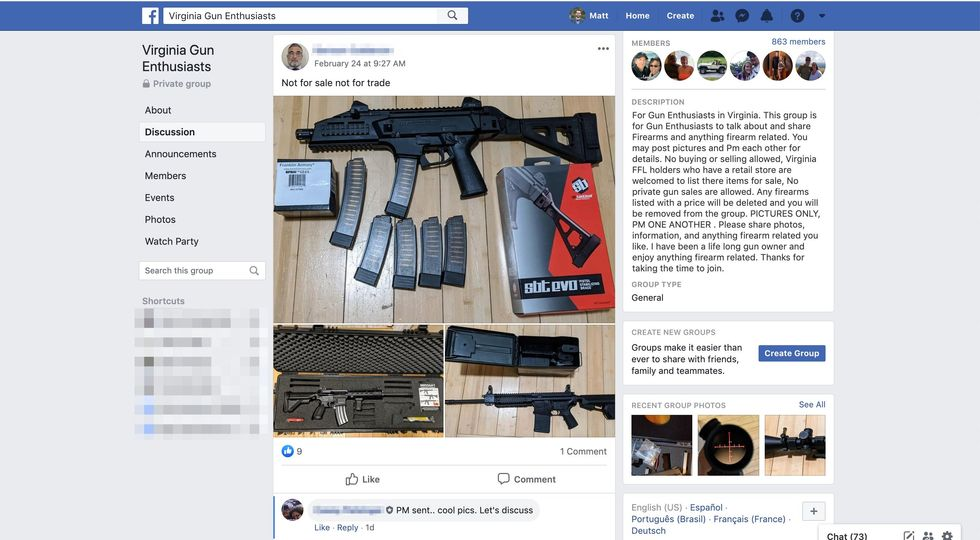 Screenshot of the Virginia Gun Enthusiast Facebook group