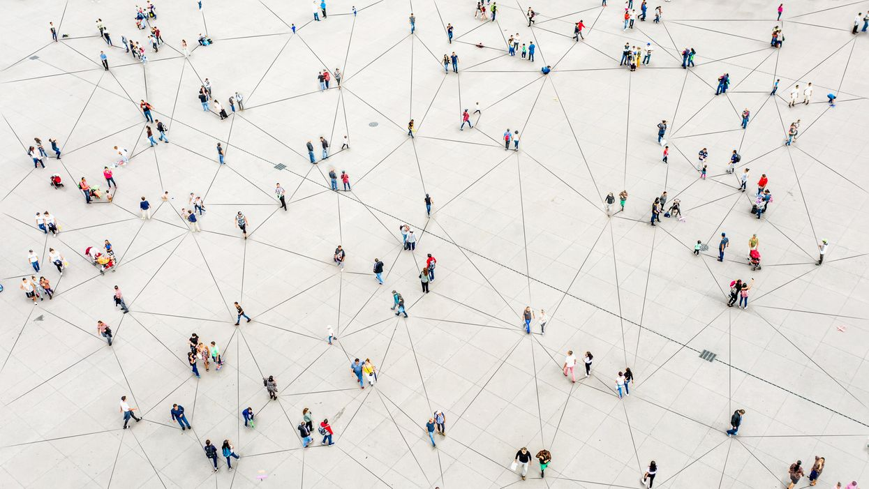 An illustration of people connected by lines