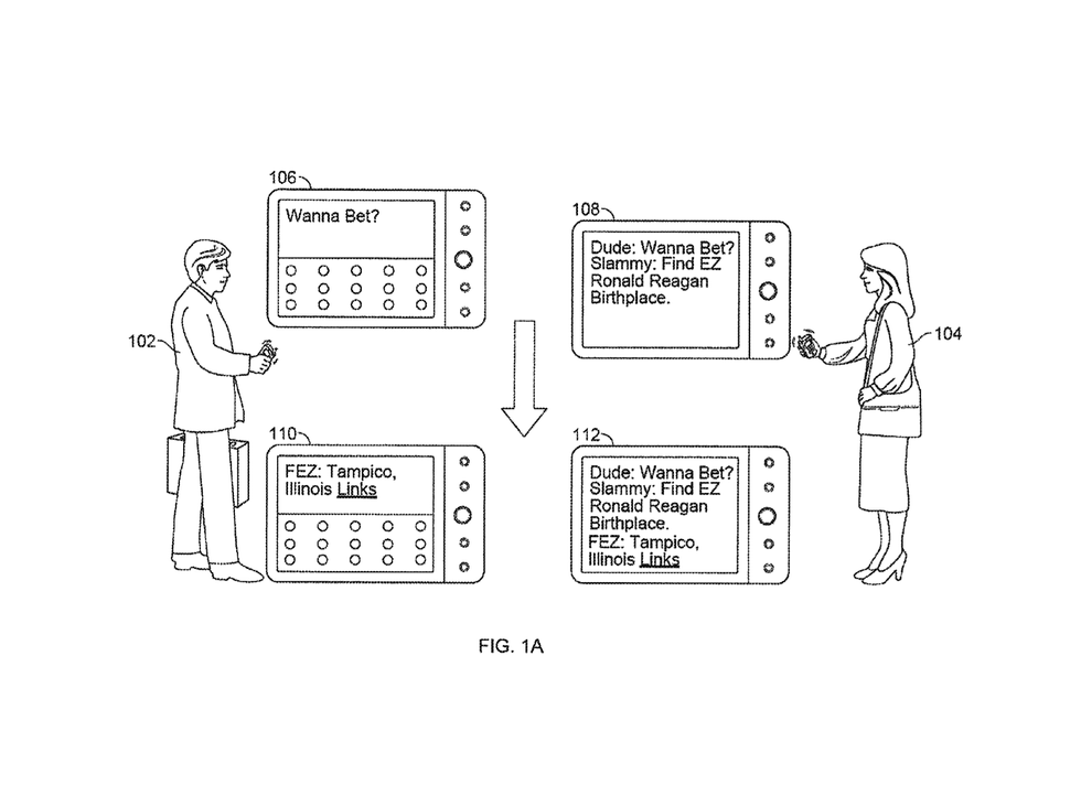 Diagram of two people chatting on a phone from the patent