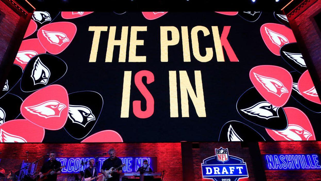 Stage with Arizona Cardinals team logo