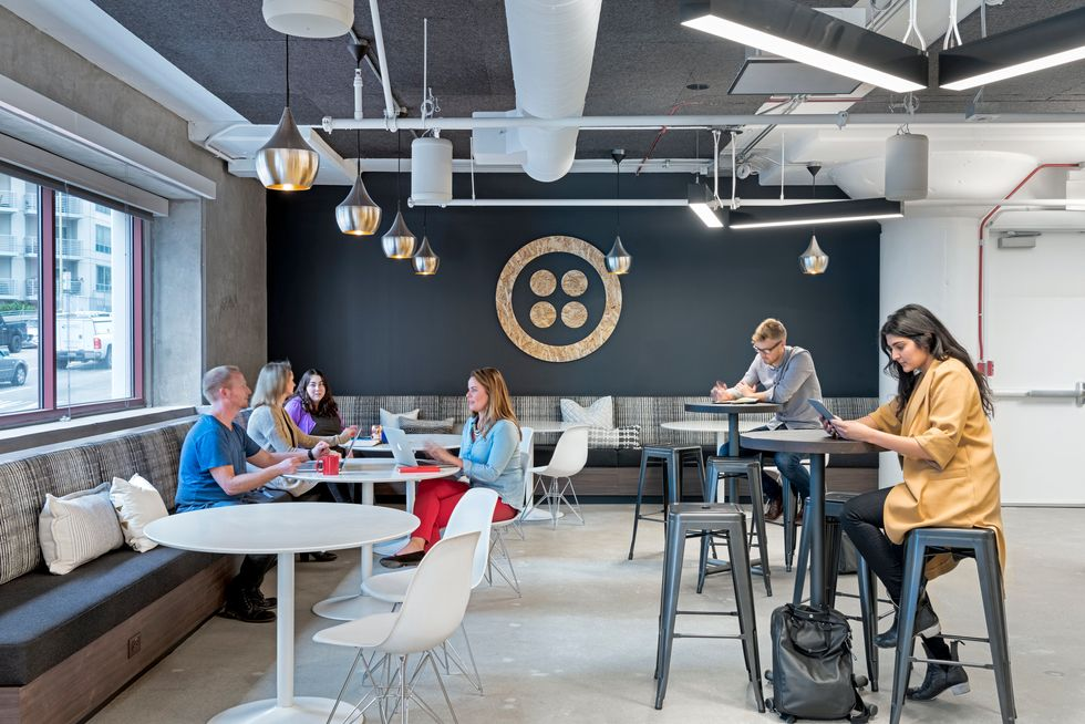 People sitting in Twilio's cafe