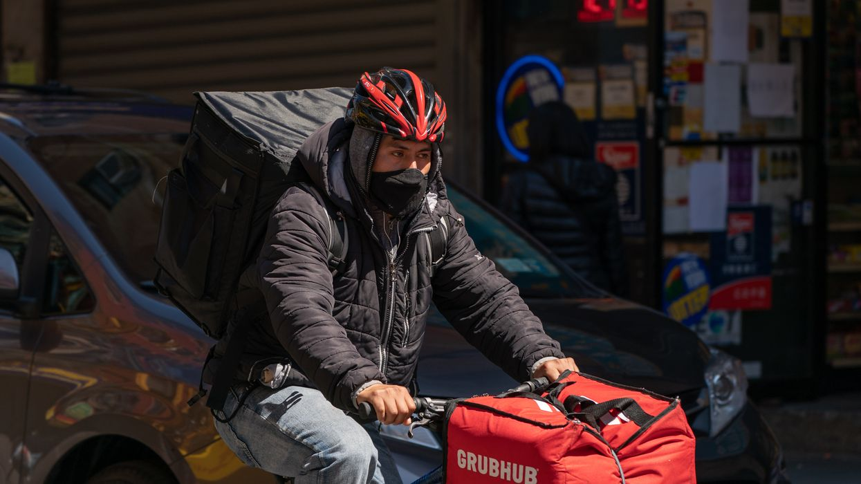 A Grubhub delivery rider