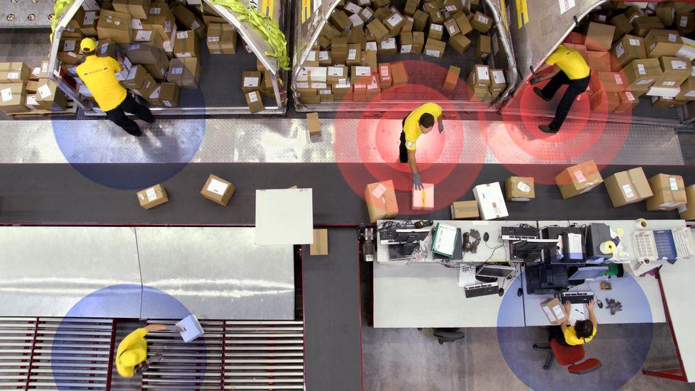 Kinetic wearables in a warehouse.