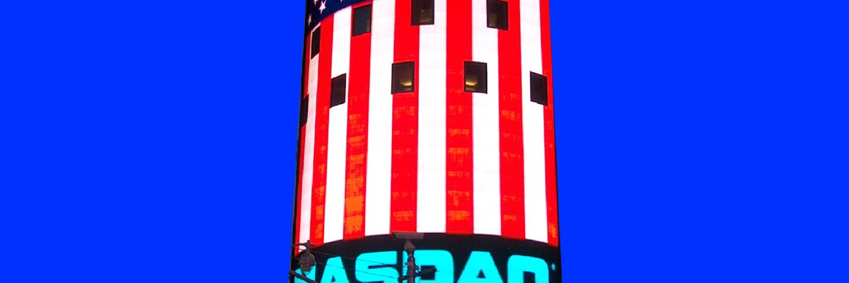 Nasdaq and US flag