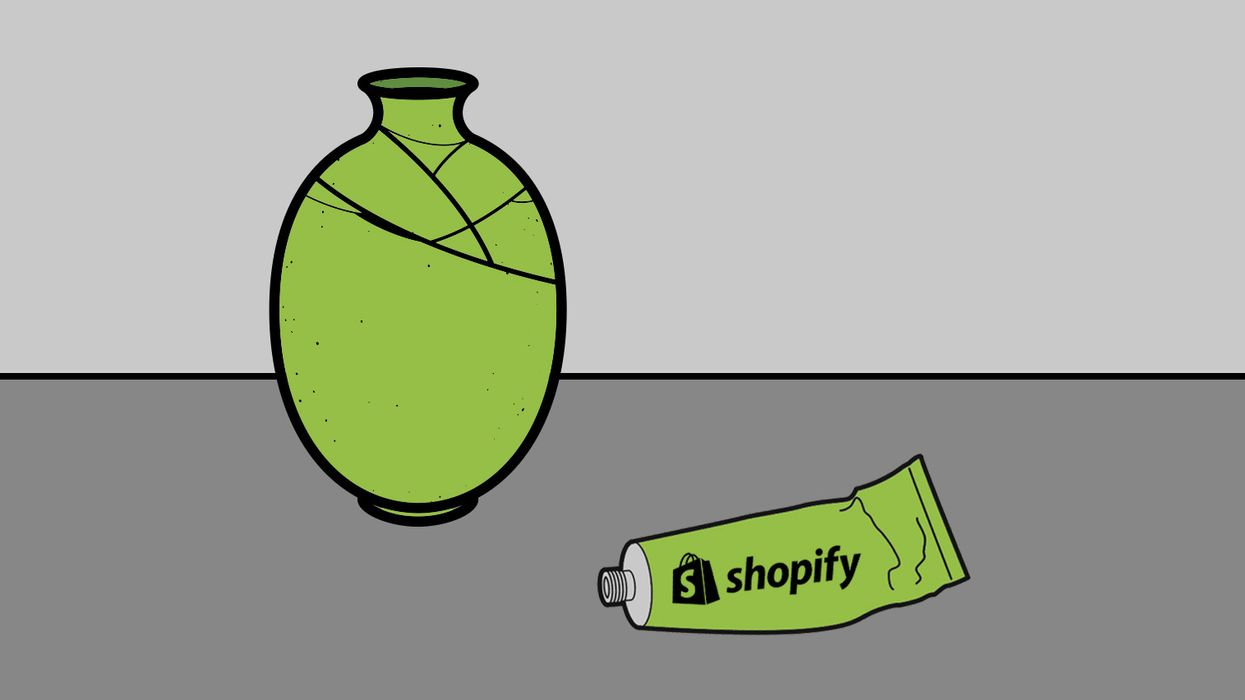 An illustration of a cracked vase and glue that says Shopify on it