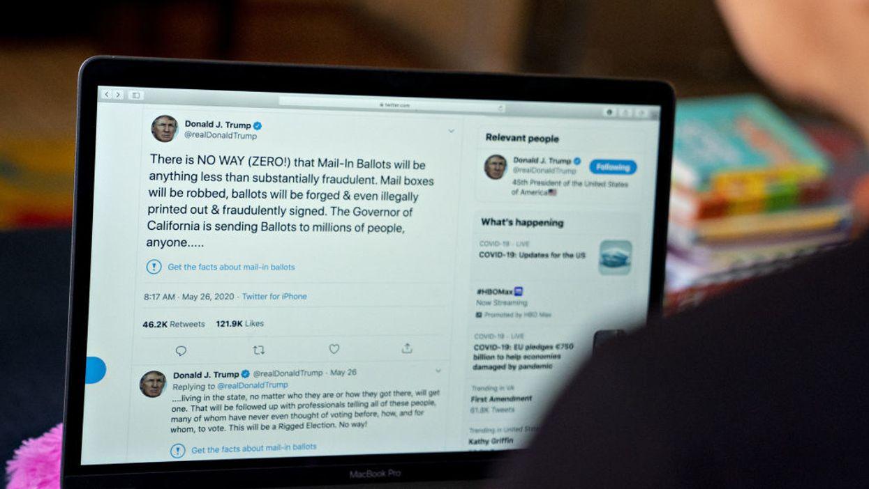Laptop screen showing tweet from President Donald Trump