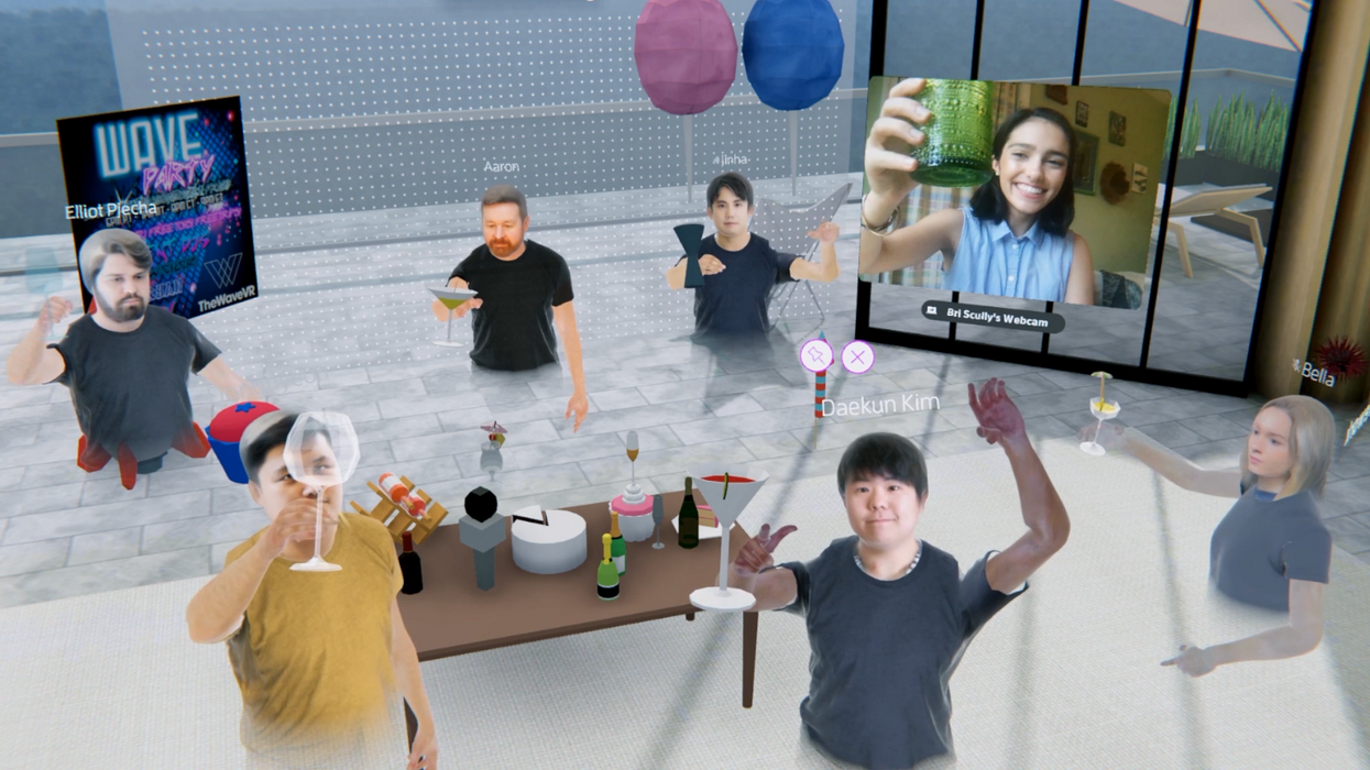 An office party in VR