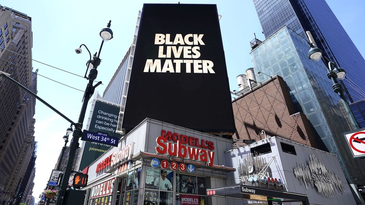 A billboard that says Black Lives Matter