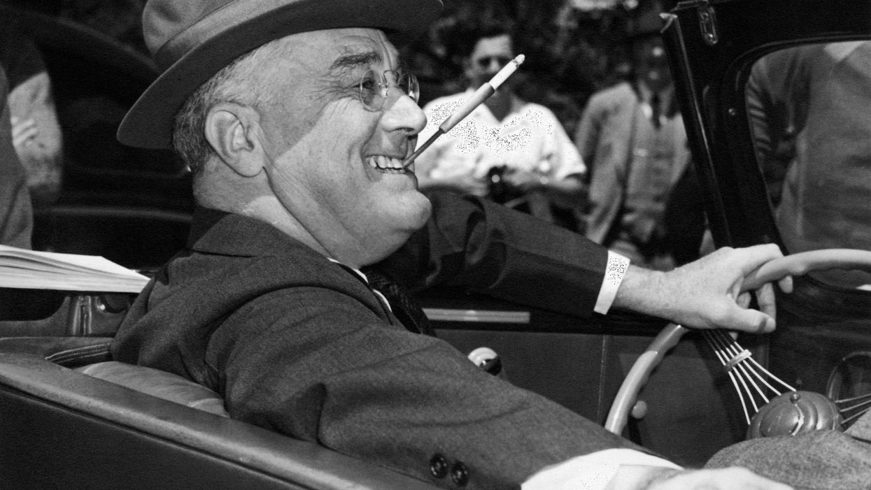 Franklin D. Roosevelt with a cigarette in his mouth