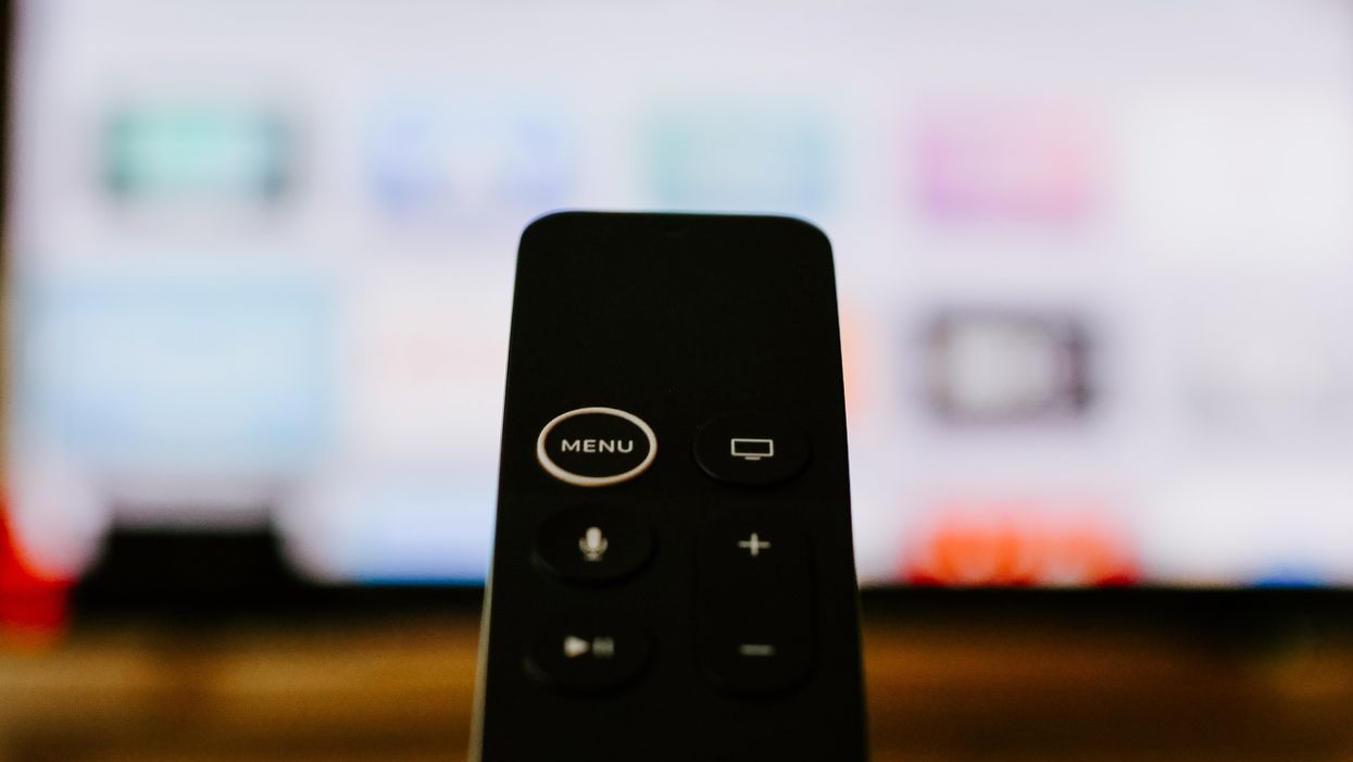 An Apple TV remote