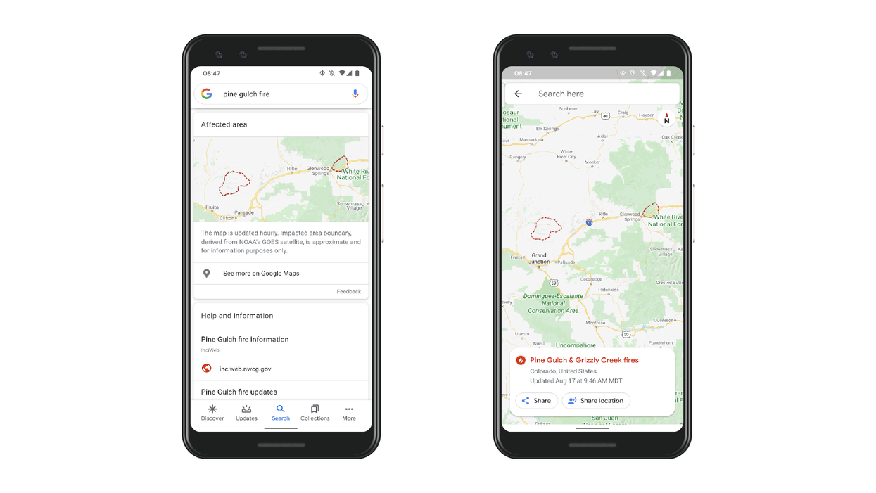 Google is expanding its fire-tracking services on its maps and search