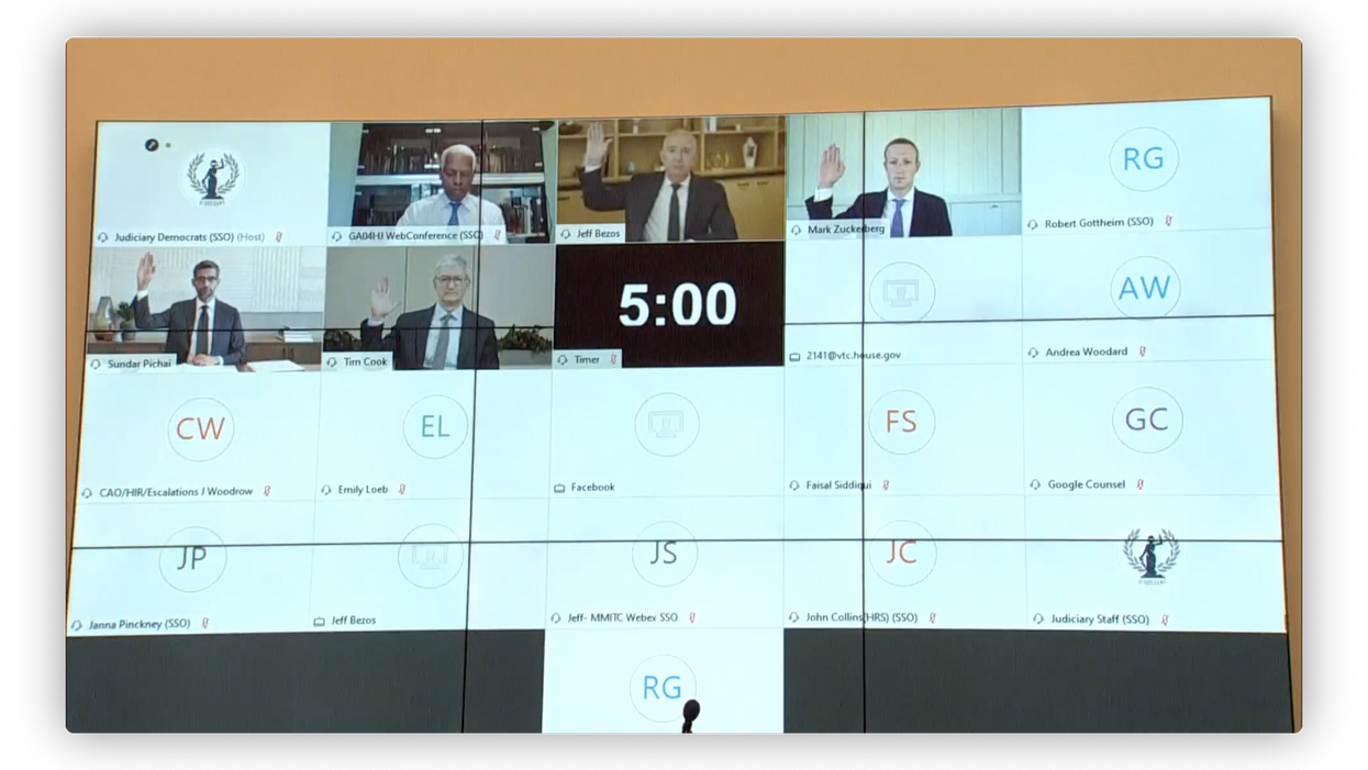 The CEOs being sworn in via Webex