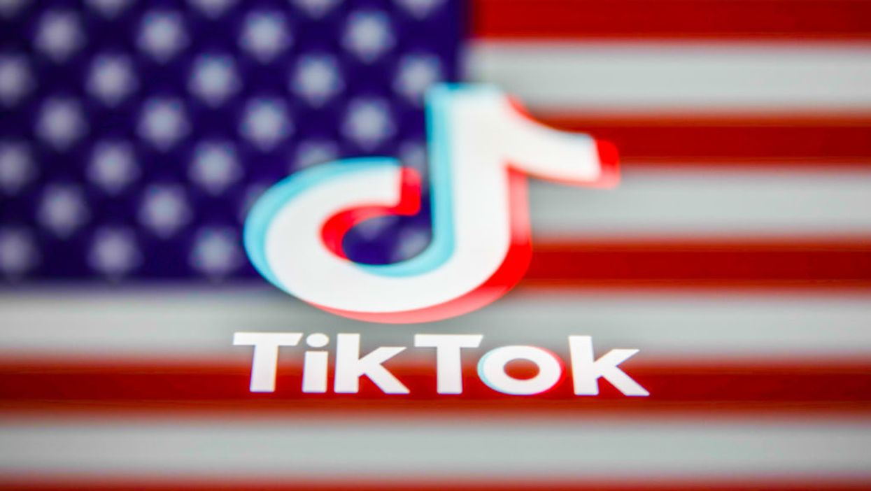 TikTok logo against the American flag