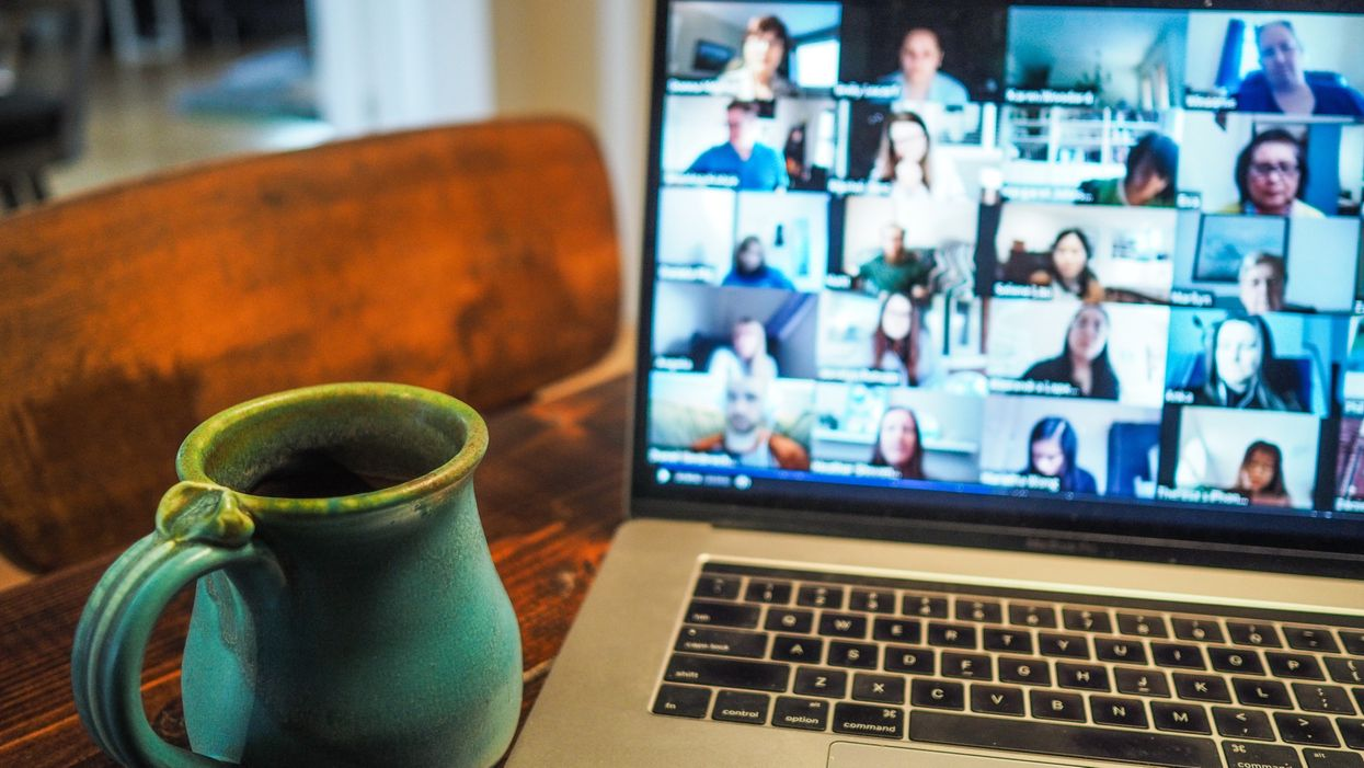 A Zoom call and coffee