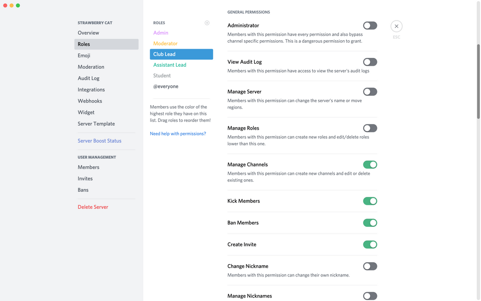 Discord roles and permissions