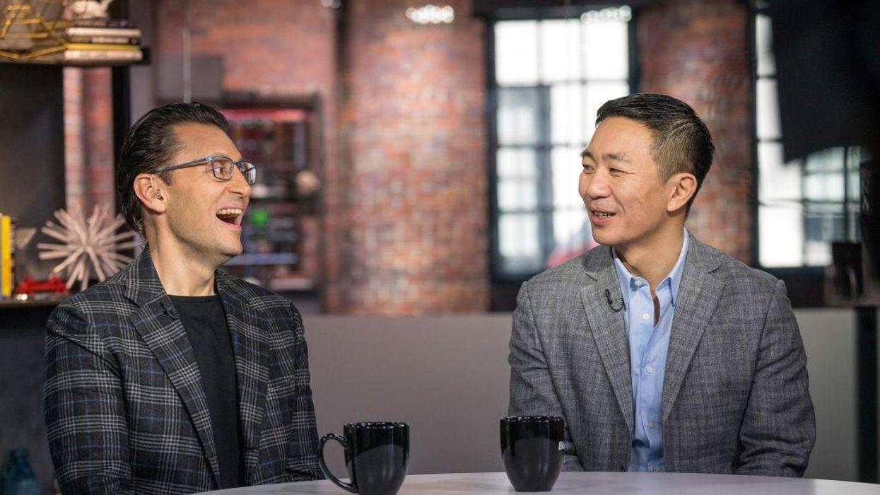 Intuit CEO Sasan Goodarzi with Credit Karma CEO Kenneth Lin.