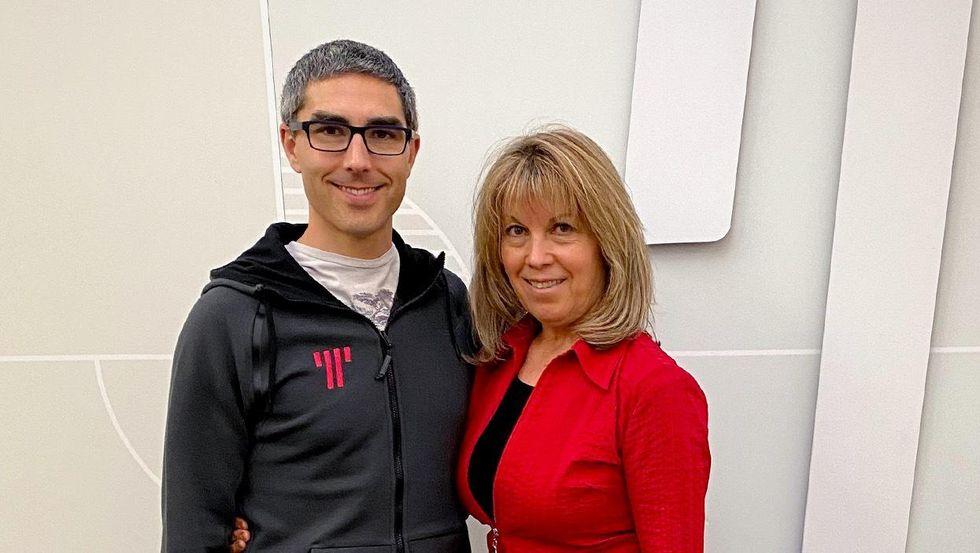 Jason Brown with his mom, Christina.