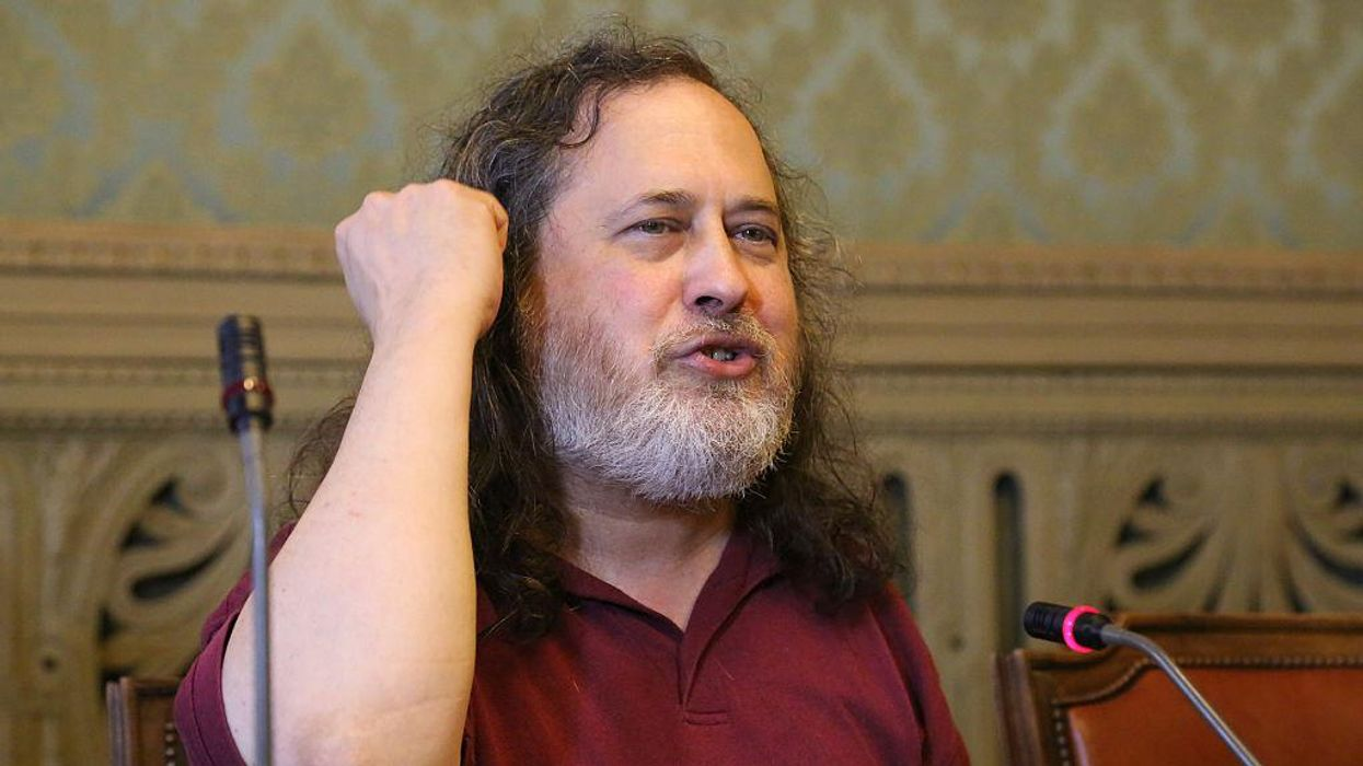 Richard Stallman, President of the Free Software Foundation, speaks at an event in Turin in 2015.