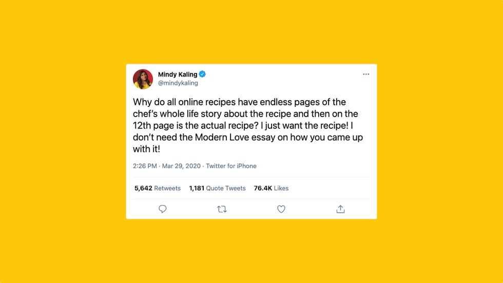 Mindy Kaling's recipe tweet