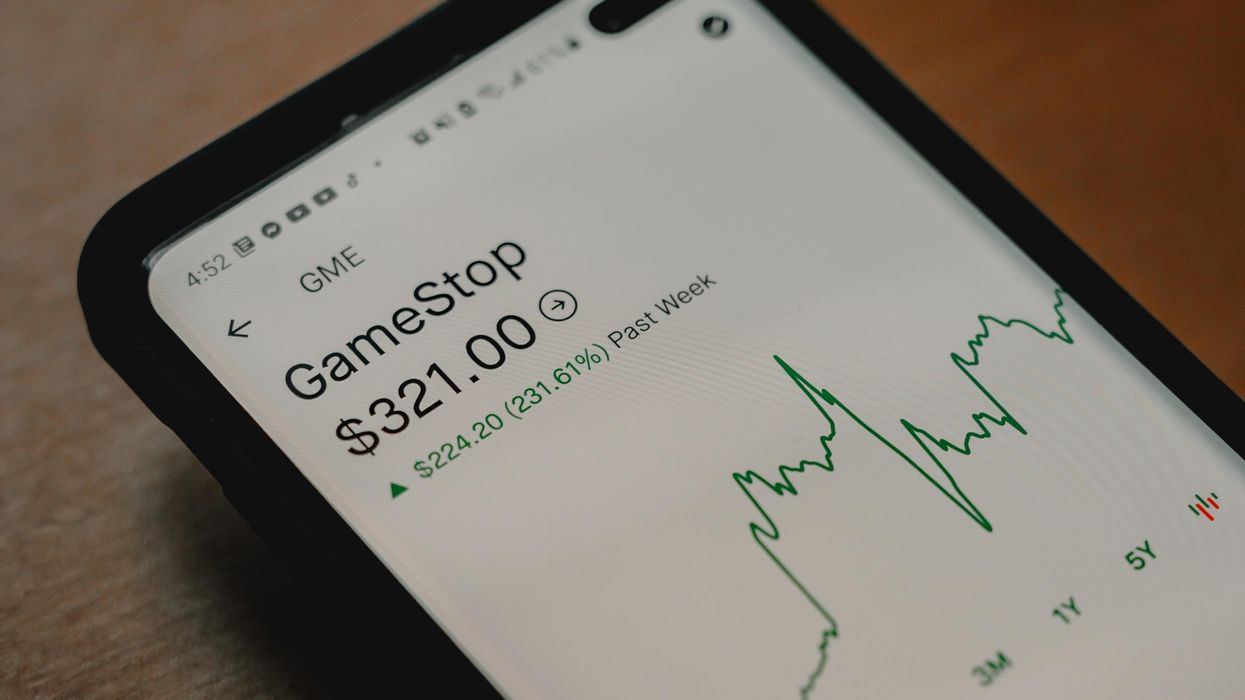 A trading app shows shares of GameStop during the January rally.