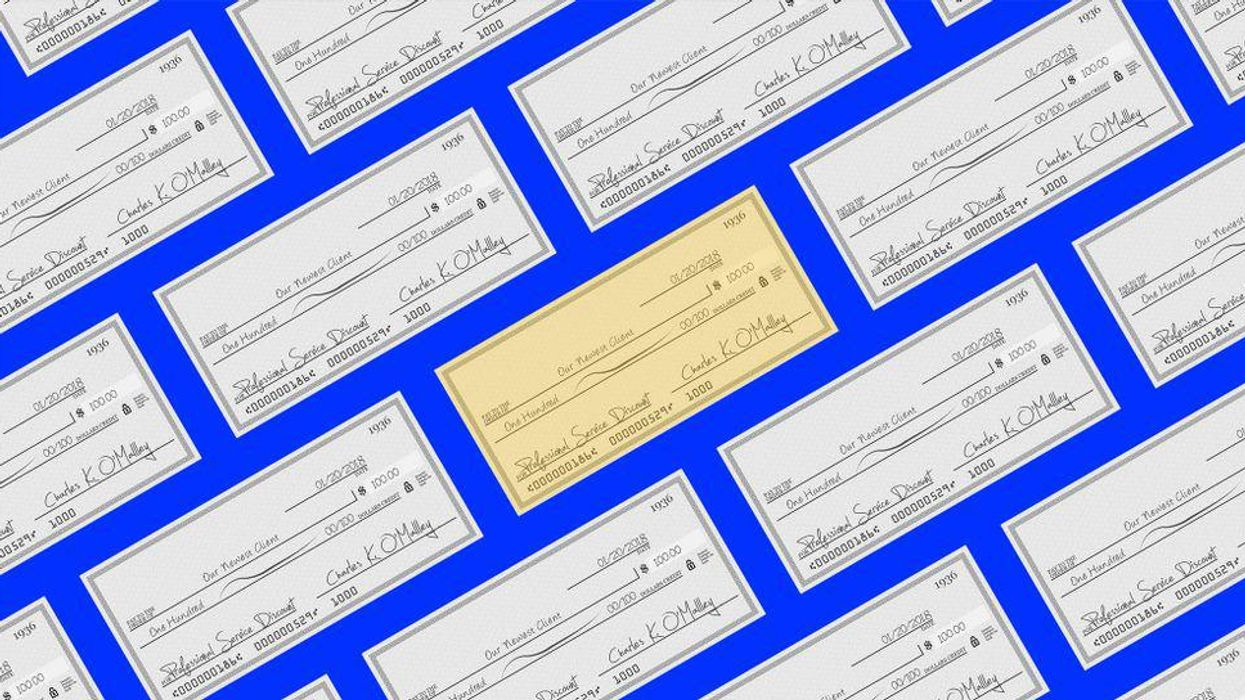 An illustration of bank checks floating on a blue background.