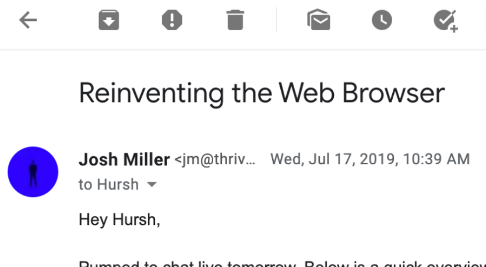 A screenshot of an email from Josh Miller to Hursh Agrawal