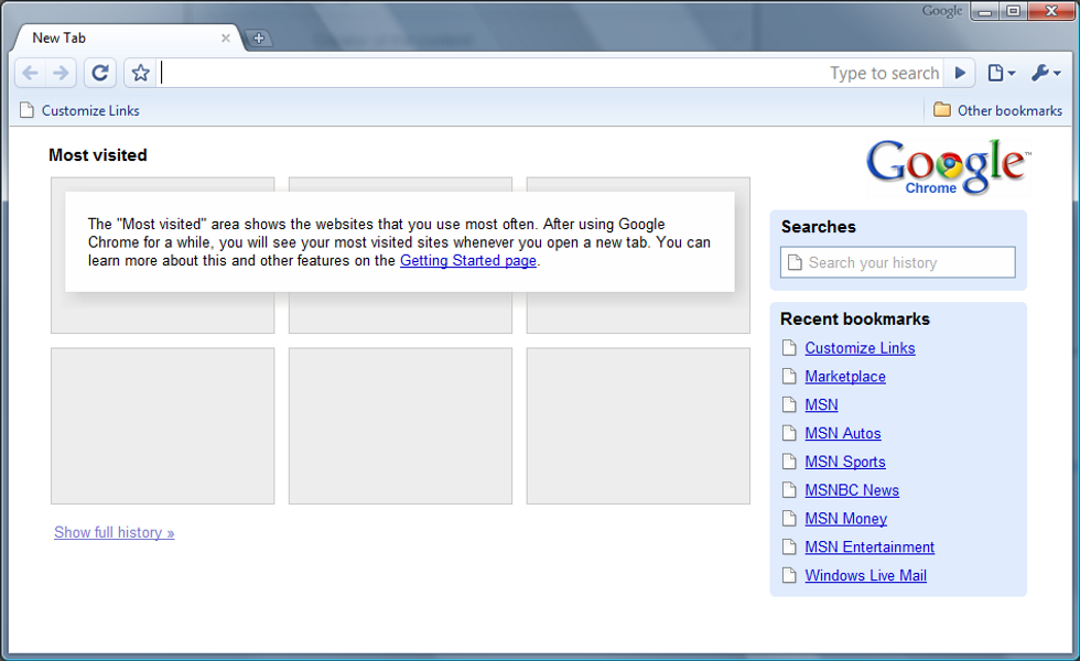 A screenshot of an early version of Google Chrome