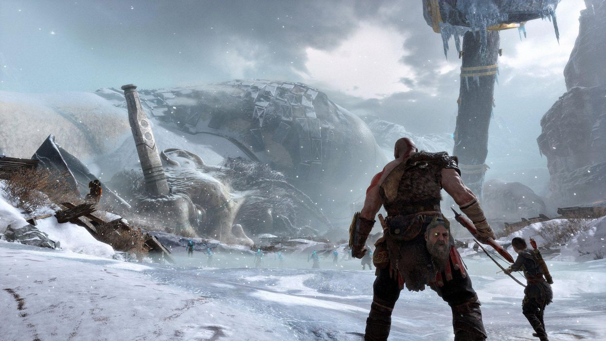 Kratos prepares for battle with his son Atreus in the 2018 PlayStation hit God of War.