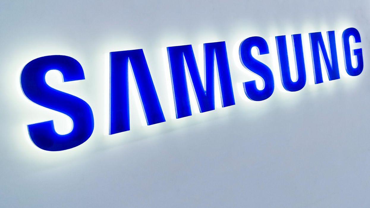 A blue Samsung logo sign