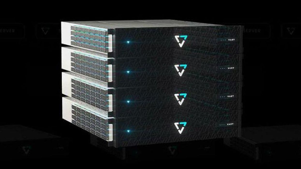 A rack of Vast Data servers.