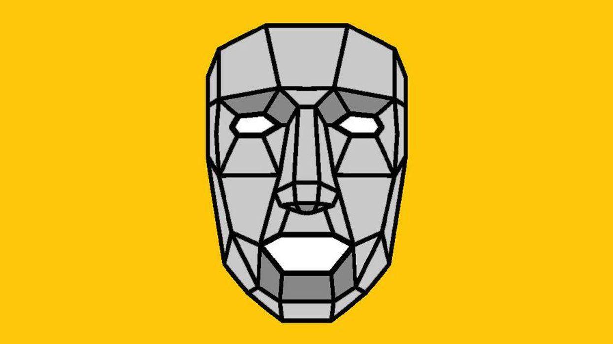 A face broken down into shapes