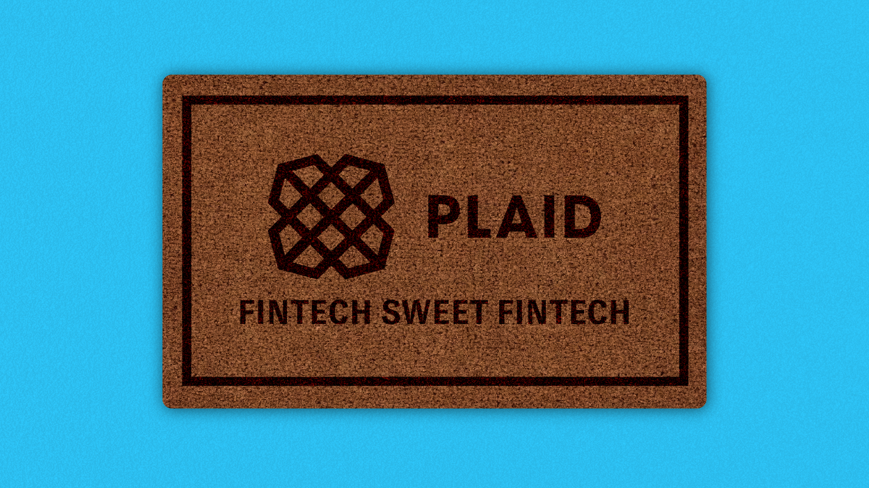 Doormat with Plaid logo on it