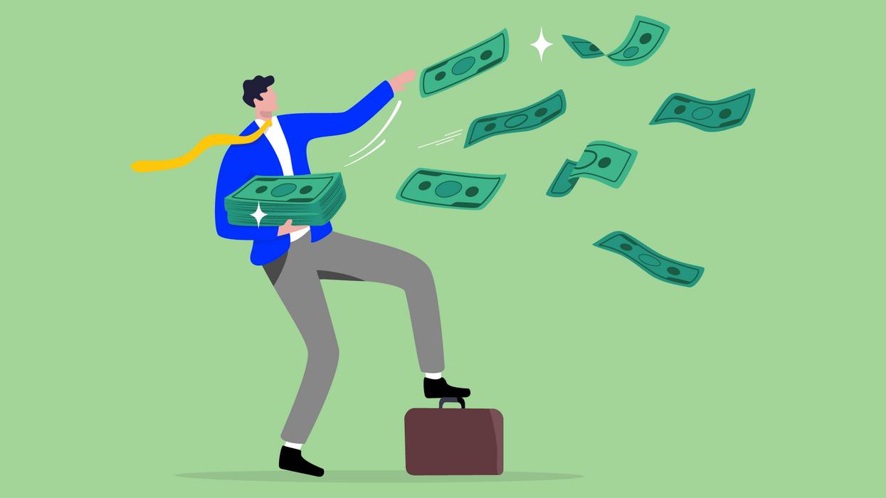 Illustration of an entrepreneur raining money into the air.