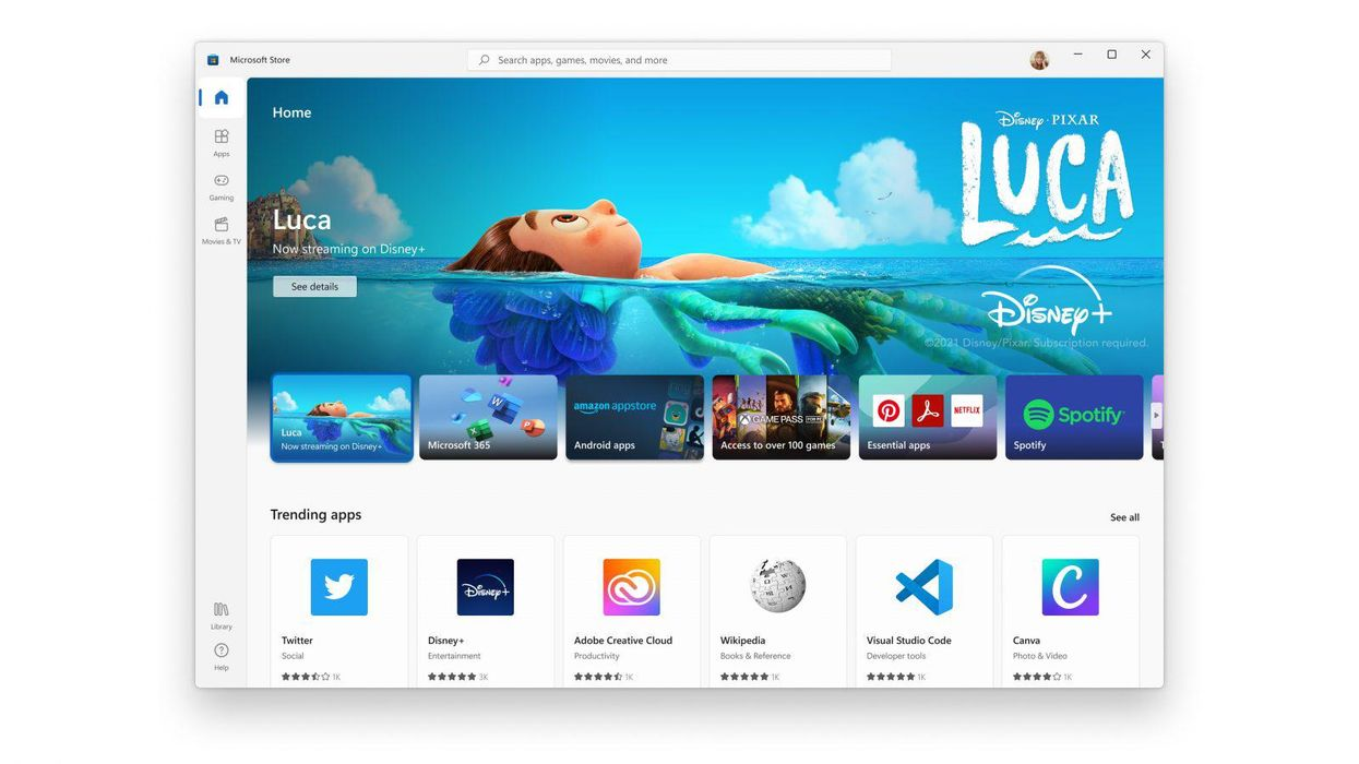 An image of the newly redesigned Microsoft Store on Windows 11.