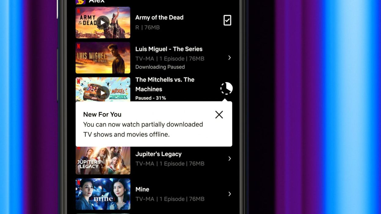 Image of Netflix's Android app, showing the new partial downloading feature