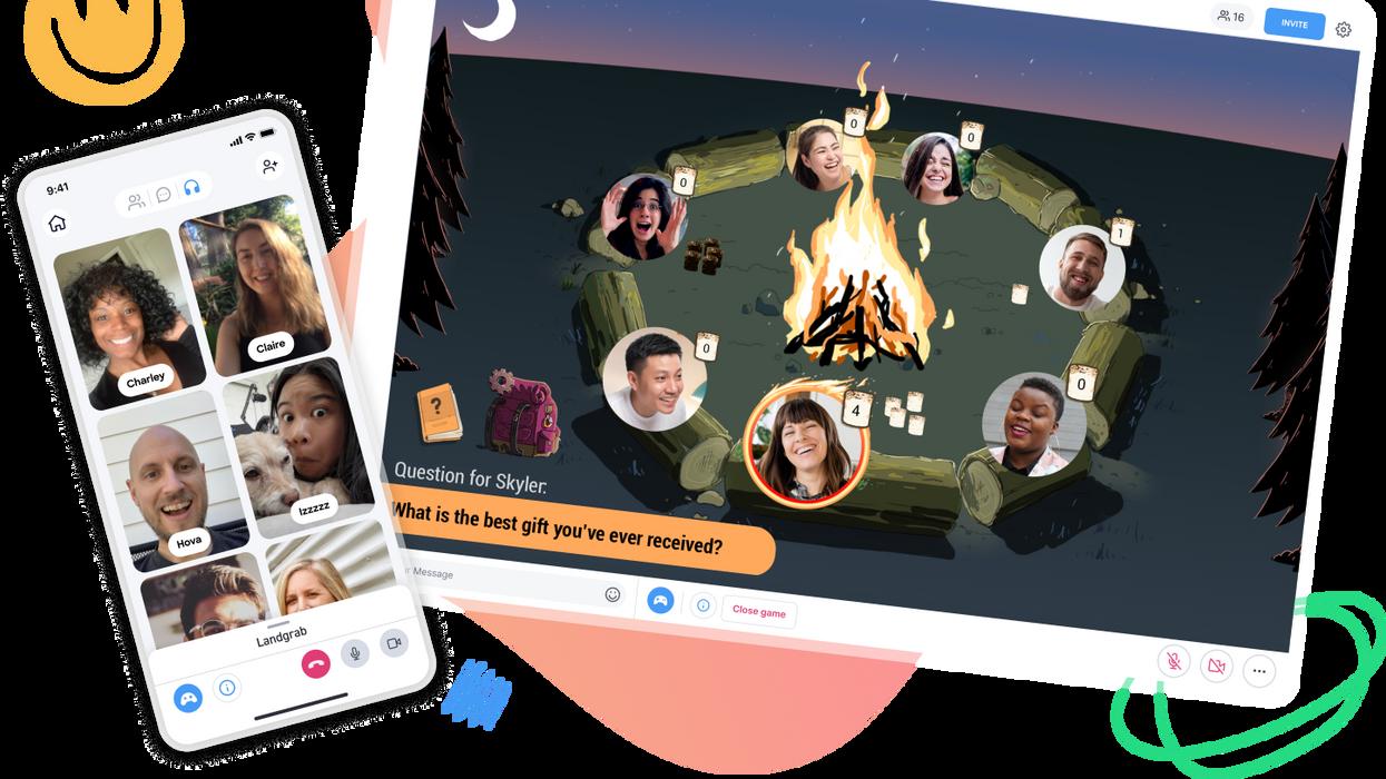 Stylized screenshot of video chat app Backyard