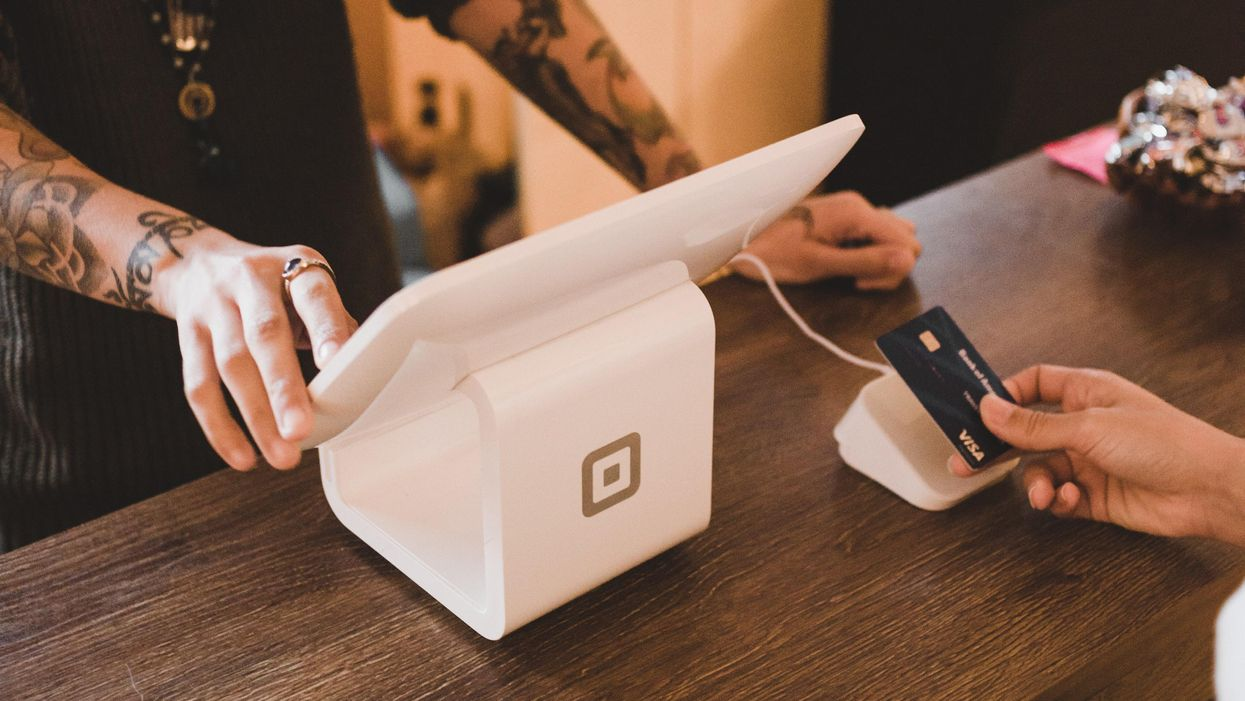A cafe using Square's register software and stand.