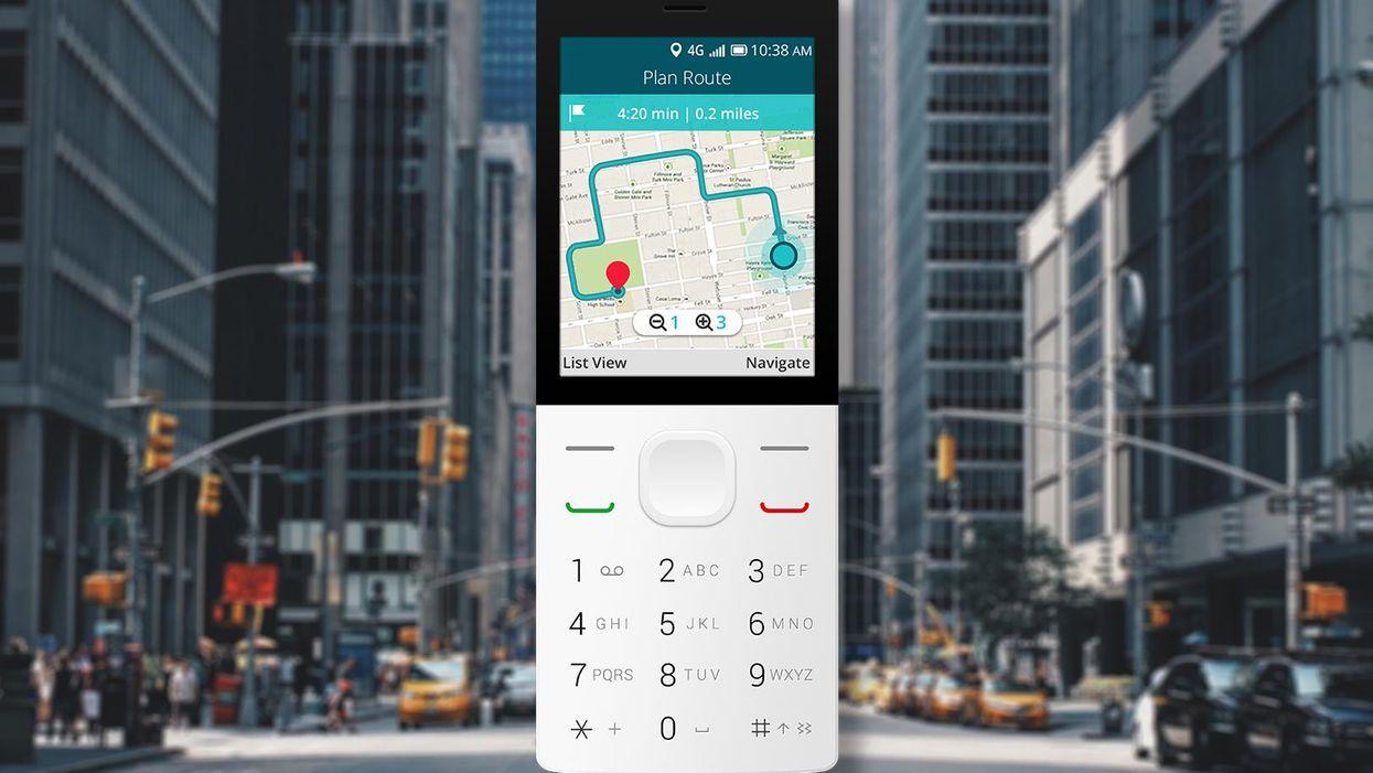 A smartphone running KaiOS showing navigation