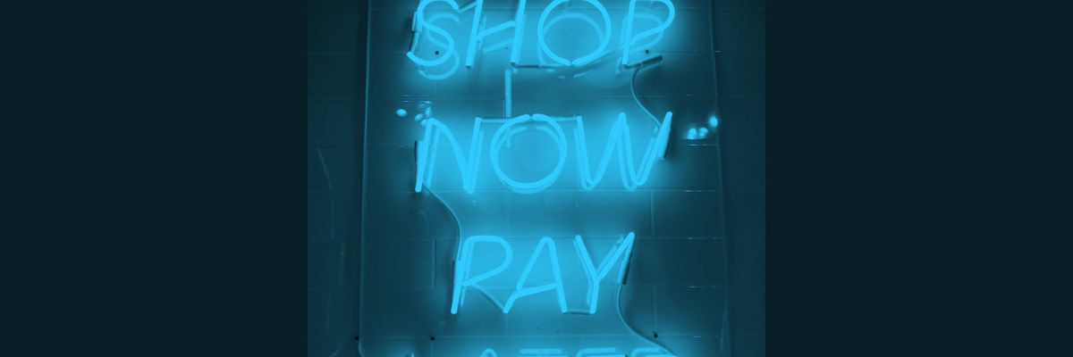 """A """"shop now, pay later"""" neon sign"""