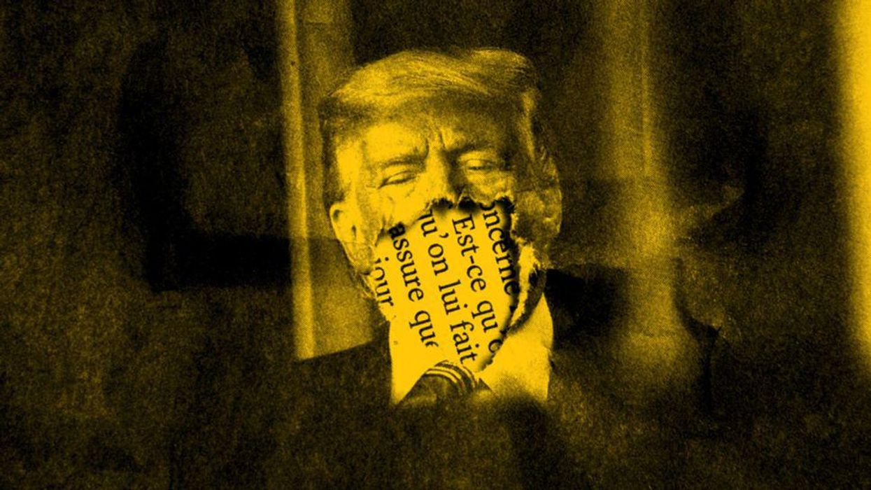 A graphic of Donald Trump that appears ripped over his mouth, with text in French peeking through underneath.