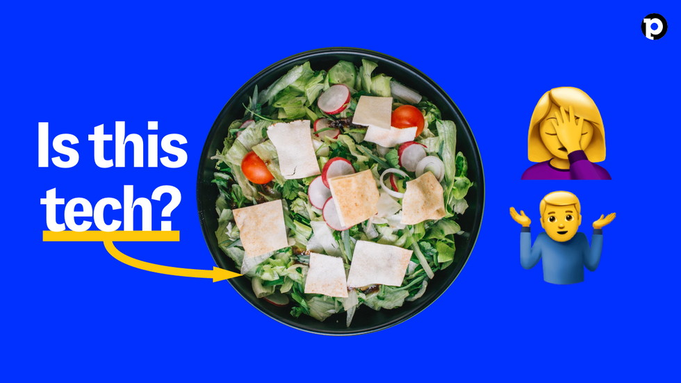 A salad on a blue background with the text \u201cIs this tech?\u201d  and two exasperated emojis beside it